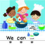 Illustration of three children cooking with text