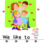 illustration of a family with mother, father, baby and two children with text